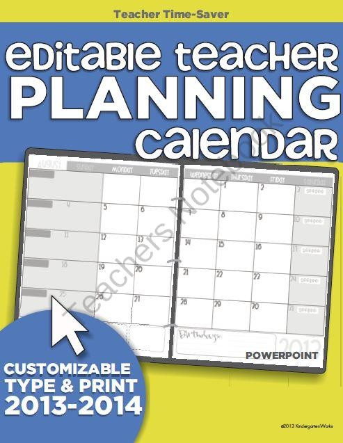 Classroom Calendar Template : Editable teacher planning calendar template from