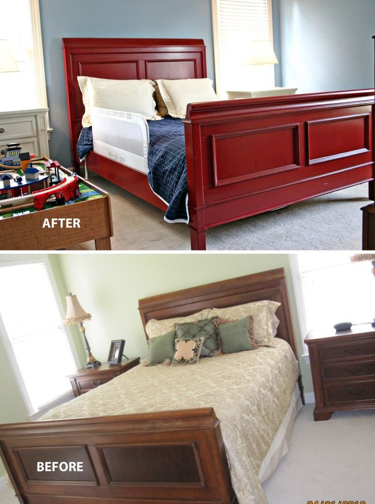 I would switch the colors of the bed and the the dressers.  White/glazed bed with red dressers and grey walls