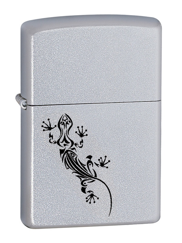 Black tribal lizard on 205 Satin Chrome Zippo lighter available from Zippo Italy.