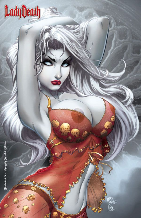 LADY DEATH: FANTASIES #1 - NAUGHTY SCARLET EDITION Interiors: Various (pin up art book) Cover: Mike DeBalfo, Ceci de la Cruz
