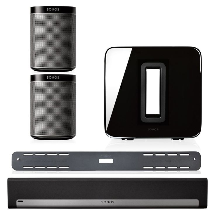 Sonos 5.1 Home Theater System Bundle - PLAYBAR, Wall Mount Kit for PLAYBAR, Wireless SUB & PLAY:1 Pair (Black)
