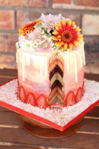 strawberry ombre layered cake fresh flowers chocolate drip
