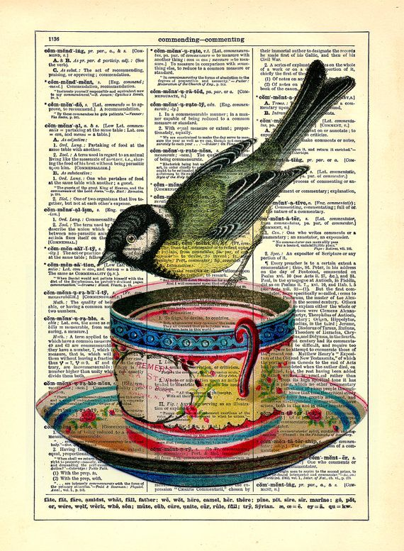 Little Bird On Teacup Repurposed Book Upcycled by StayGoldMedia