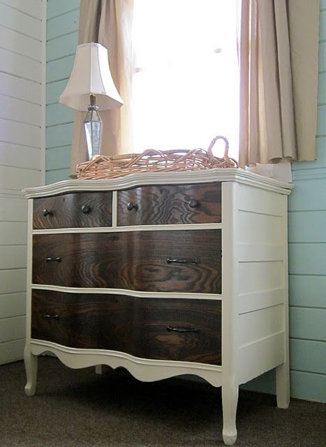 two toned painted dresser with white- i wonder if this would work on the set in our master bedroom?