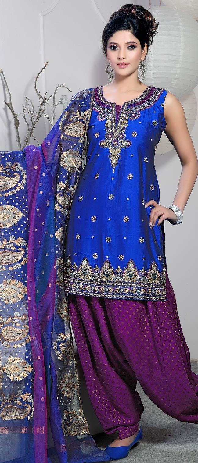 Navy #Blue Art Raw #Silk #Salwar Suit @ $225.71 - Love the colours