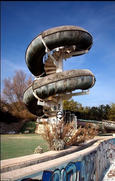 Abandoned water park ride