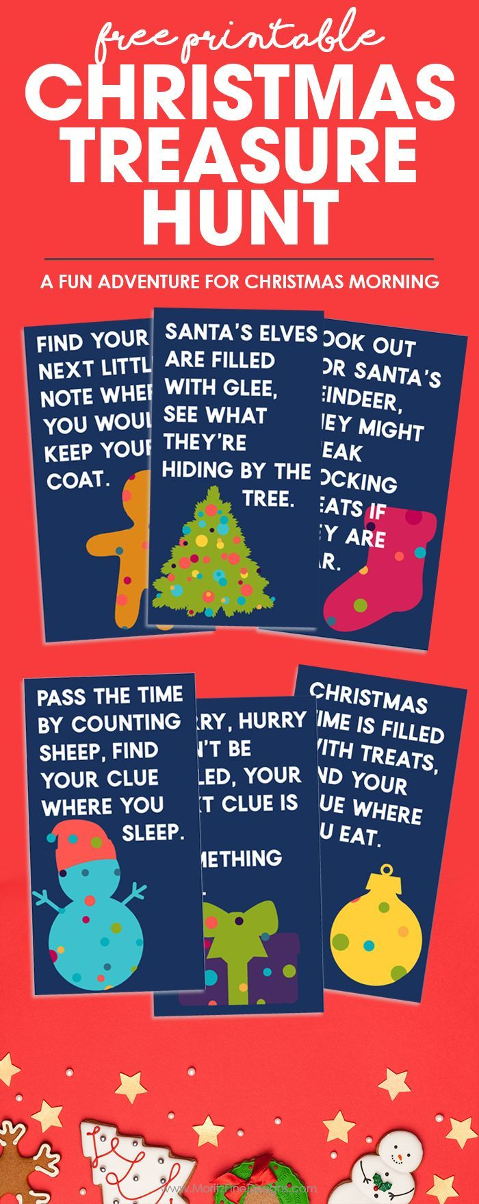 Make Christmas morning even more special by having a Christmas Treasure Hunt. It's the perfect activity for your kids to find that one special gift. You can even do the scavenger hunt during your Christmas Party! #freeprintable #christmastreasurehunt #christmasscavengerhunt #christmasgamesforkids #christmasideas
