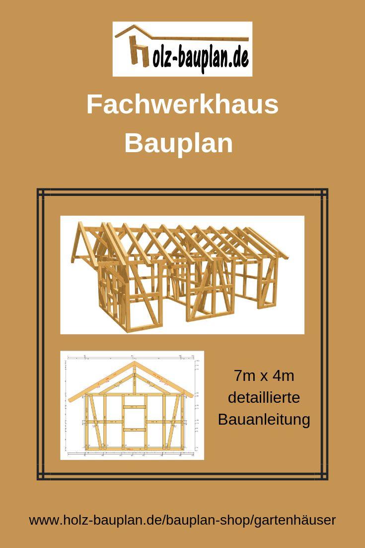 Fachwerkhaus Bauplan als PDF 7m x 4m oder individuell nach