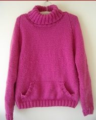 Ladys 12ply polo neck jumper with pocket knitting pattern
