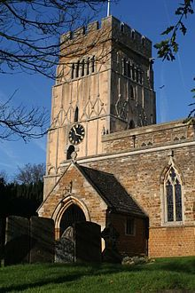 Distinctive Anglo-Saxon pilaster strips on the tower of All Saints' Church, Earls Barton