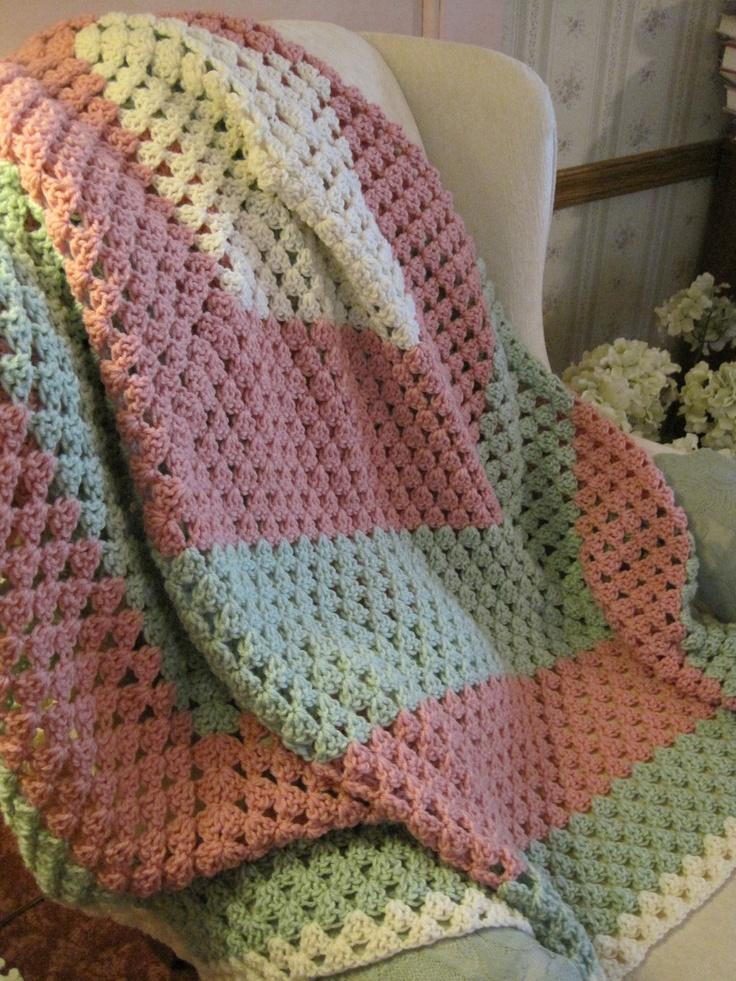Crocheted Granny Square Afghan Throw 53x56. $60,00, via Etsy.