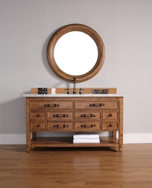 "Malibu 60"", James Martin Honey Alder Transitional Bathroom Vanity"