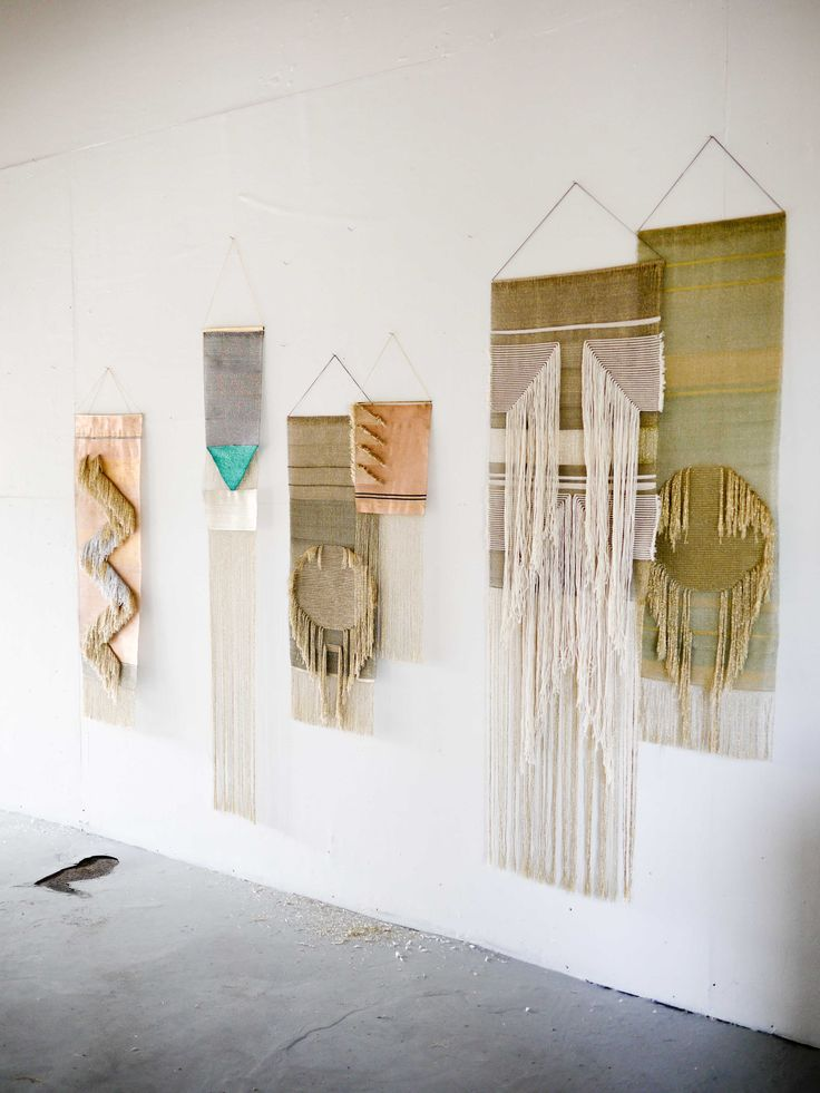 Studio Wall of Justine Ashbee, Native Line Wall Hangings, Woven Tapestries