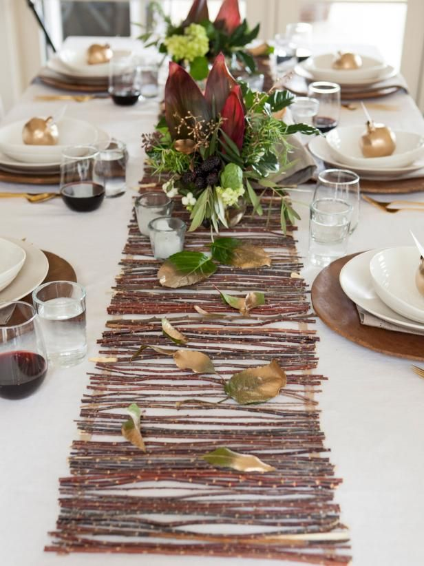 Bring an organic touch to your Thanksgiving table by creating a beautiful runner made of twigs. Kids will love scavenging for twigs in the yard, and assembly is easy enough that they can help craft it, too.