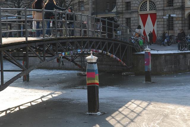 Yarn bombing in Leiden, Netherlands