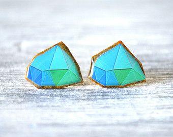 geometric earrings , geometric studs , modern earrings ,, gift for her , artistic earrings , geometric jewelry , geometric post
