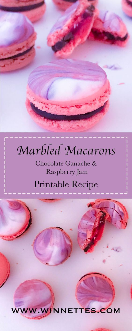 Marbled Macarons – Chocolate and Raspberry Marbled Macarons with printable recipe. Macaron or macaroon?: