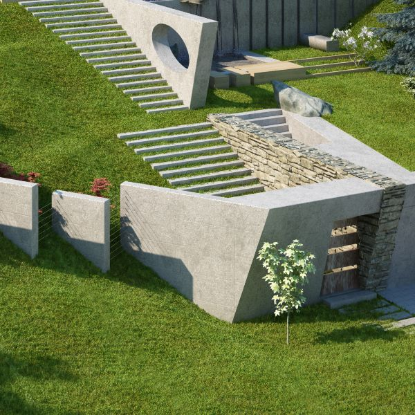 Steps integrated into grass slope stairs pinterest for Terrain landscape architecture