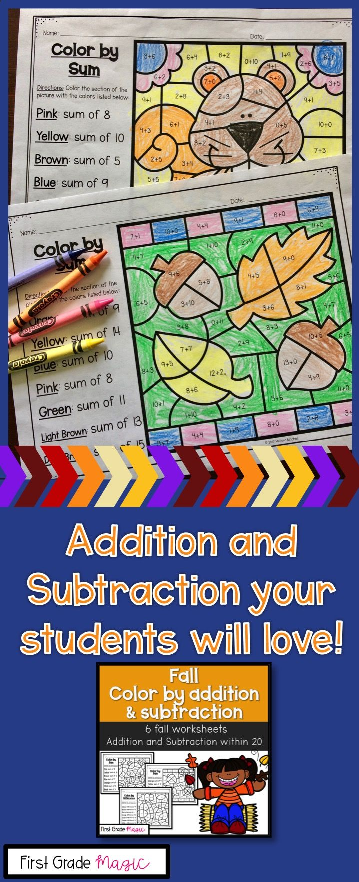 These math worksheets are perfect for addition and subtraction practice. Your students will love getting to color these cute fall images!