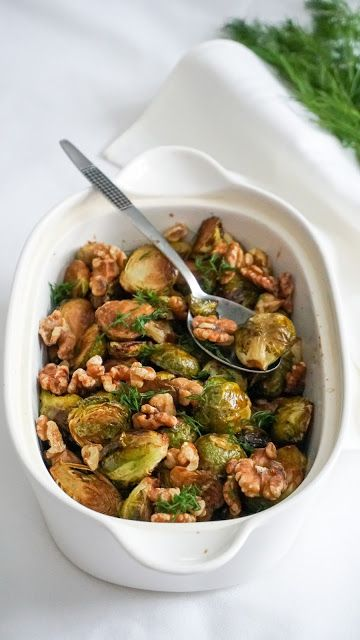 Maple glazed Brussels sprouts with toasted walnuts