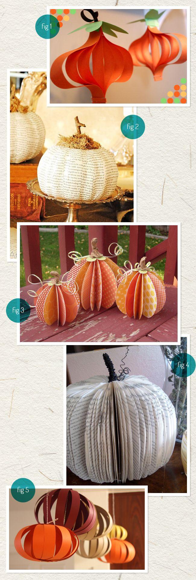 5 paper pumpkins diys