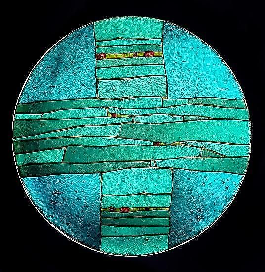 Turquoise Strata Bowl: Lynn Latimer: Art Glass Bowl - Artful Home