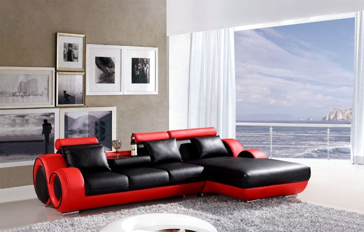 L shape Reclining sofa set modern leather couch  # 4085 (Black /red)