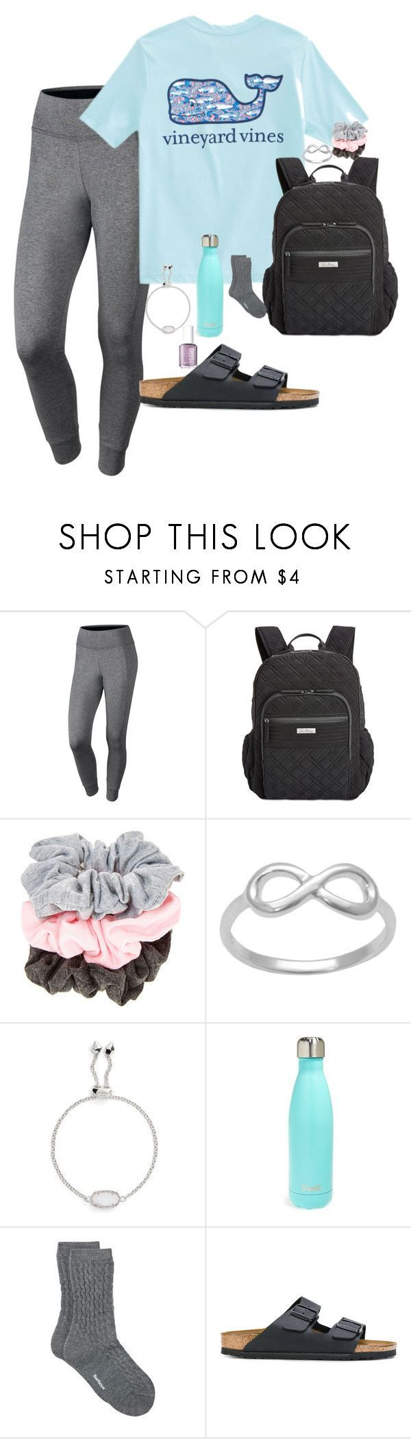 """""""school"""" by nbrooke1009 on Polyvore featuring NIKE, Vineyard Vines, Vera Bradley, Kendra Scott, S'well, Barbour and Birkenstock #sandalsoutfit"""