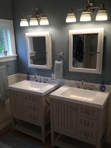 Martha Stewart Home Depot gray vanity and white medicine cabinets