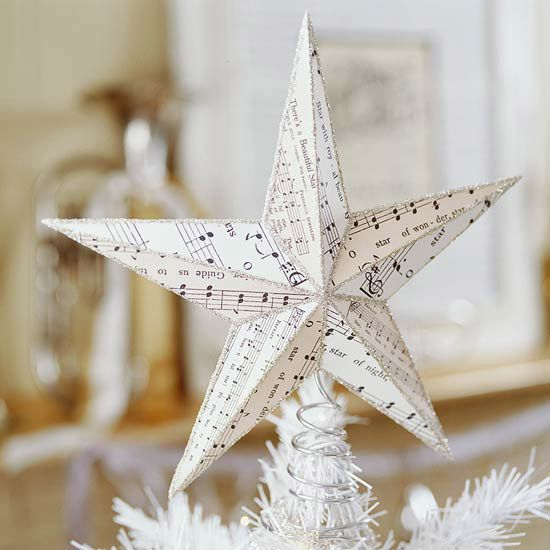 music star tree topper (check out the song!)Sea Stars, Christmas Music, Paper Stars, Sheet Music, Christmas Trees Toppers, Christmas Carol, Music Sheet, Tree Toppers, Crafts