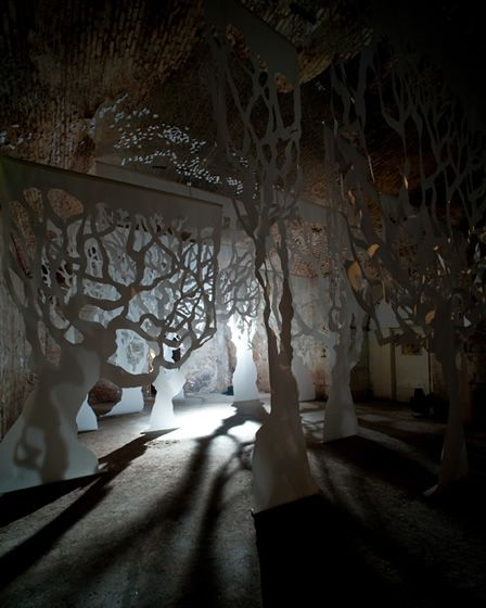 This is a walk through forest made of paper, It was made to create a momentary experiences for the audience.
