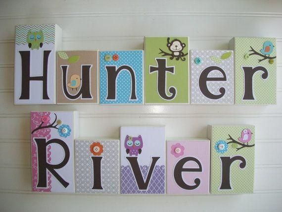 Letter Blocks for Children.Name Blocks for Twins. by RessieLillian.Etsy.com  Nursery name blocks for Twins