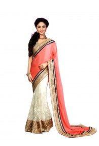 Bright Colour Collection Chinnon Georgette Half-Half Saree By Shreya Corporation