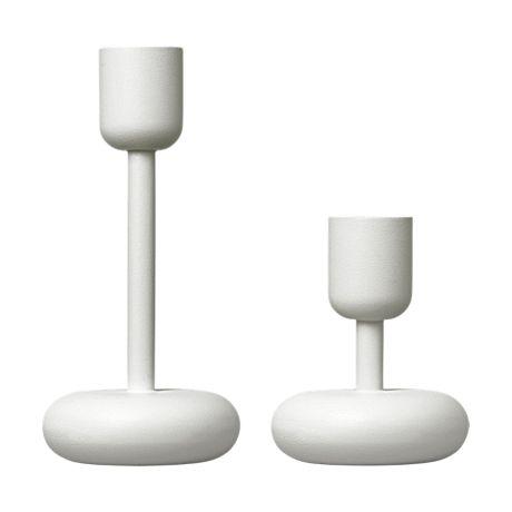 Iittala 'Nappula' candle holder set in fresh white