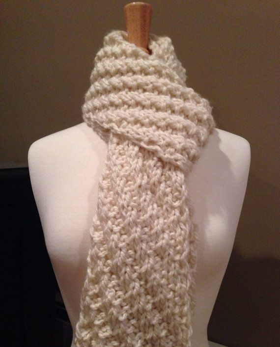 Diagonal Rib Bulky Knit Scarf - Off White by KnotYourAvgKnits, $22.00