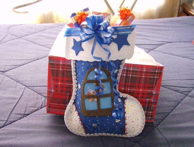 Bota navideña hecha en fomy