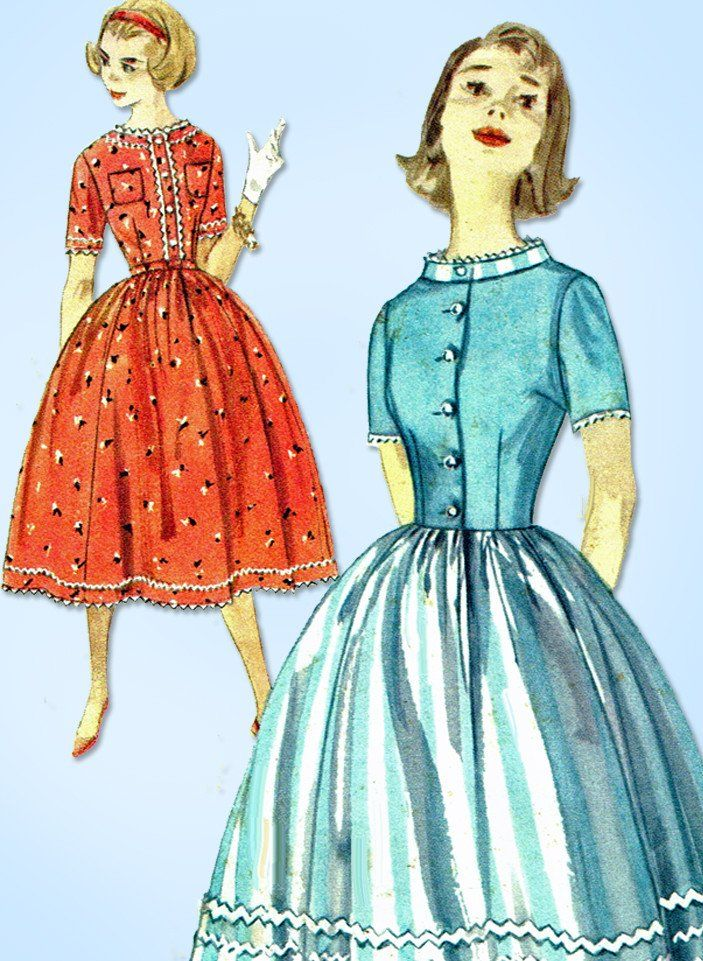 "Simplicity 2430 Misses' Shirtwaist Dress Pattern From 1958 Factory Folded and Unused Envelope is Soiled Size 14 (34"" Bust) We Sell the Best Original Vintage Sewing Patterns and Embroidery Transfers!"