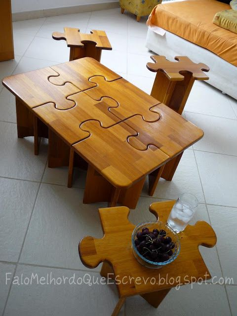 Puzzle table- use a saw to cut the shapes out of the whole piece to ensure the pieces will all line up.