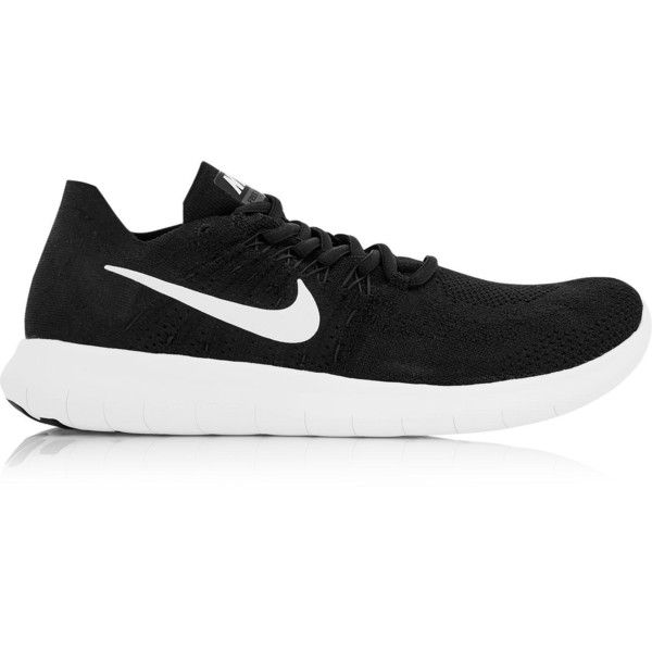Nike Free Run Flyknit 2 Running Shoes (180 AUD) ❤ liked on Polyvore featuring shoes, athletic shoes, black, laced up shoes, running shoes, nike, flyknit shoes and black athletic shoes