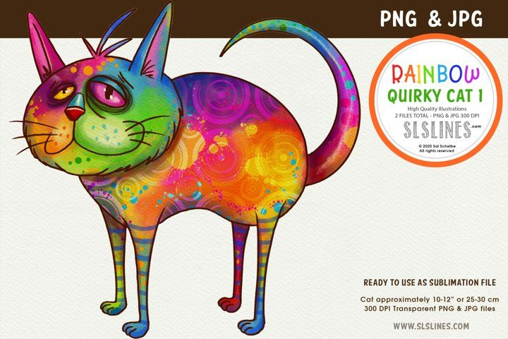 Funky Rainbow Cat Png Clipart 951444 Illustrations Design Bundles Cat Illustration Rainbow Cat Alphabet Illustration