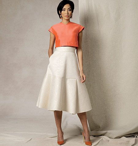 New sewing pattern by Nicola Finetti for Vogue Patterns. V1486, Misses' Crop Top and Flared Yoke Skirt