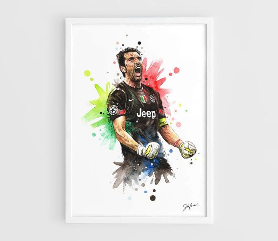 Gianluigi Buffon (Juventus FC) Football Poster - A3 Wall Art Print Poster of the Original Watercolor Painting by NazarArt