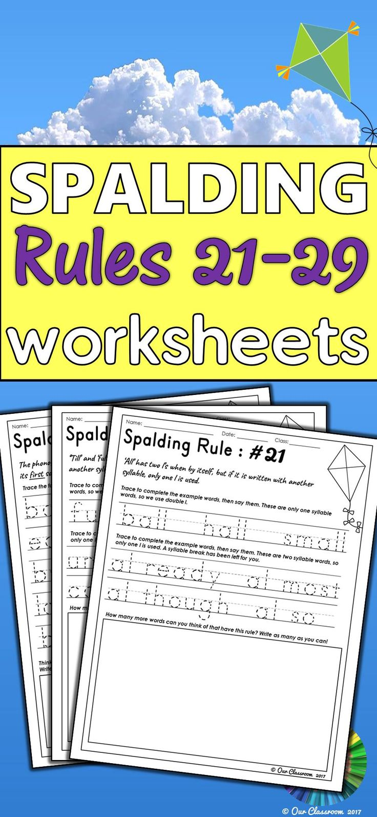 Learning the Spalding Rules? This product contains an individual worksheet for each of the Spalding Rules 21-29. It includes phonogram pronunciation, spelling and language rules. These worksheets include tasks to help students understand the different rules and what they do. Perfect for literary centers, homework sheets, time fillers and many more. These worksheets are essential to supplement your Writing Road to Reading program!