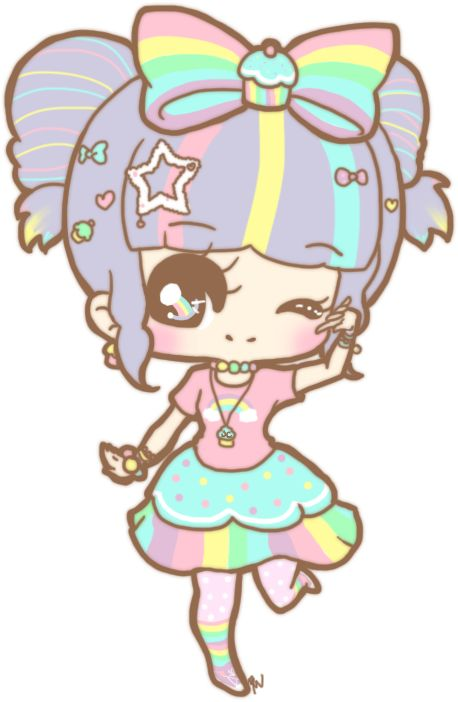 Cute & Kawaii Rainbow Girl by Cheshirepanda. Did you know that kawii means cute in Japanese