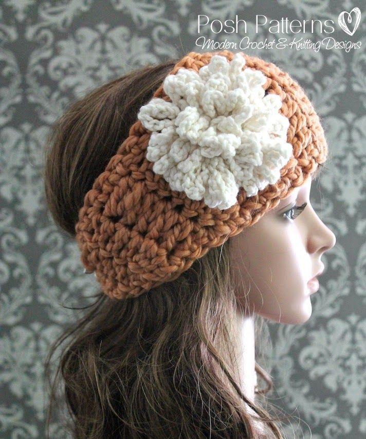Free Crochet Pattern Headband Ear Warmer and Loopy...                                                                                                                                                                                 More