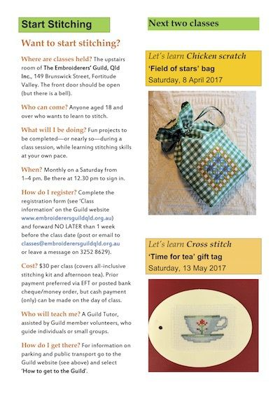 Brisbane WeekendNotes - Start Stitching Embroidery Classes - Brisbane