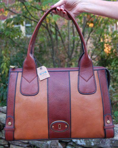 Fossil Leather VRI Vintage Reissue Satchel Multi Brown Receipt | eBay
