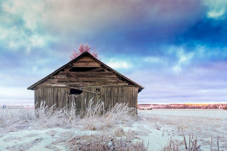 Barn House On The Frosty Field...