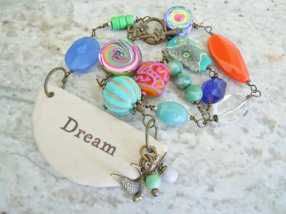 Inspirational Dream Clay Pendant Necklace by gristmilldesigns