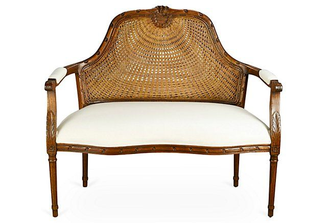 Seren Cane-Back Settee, Walnut | One Kings Lane
